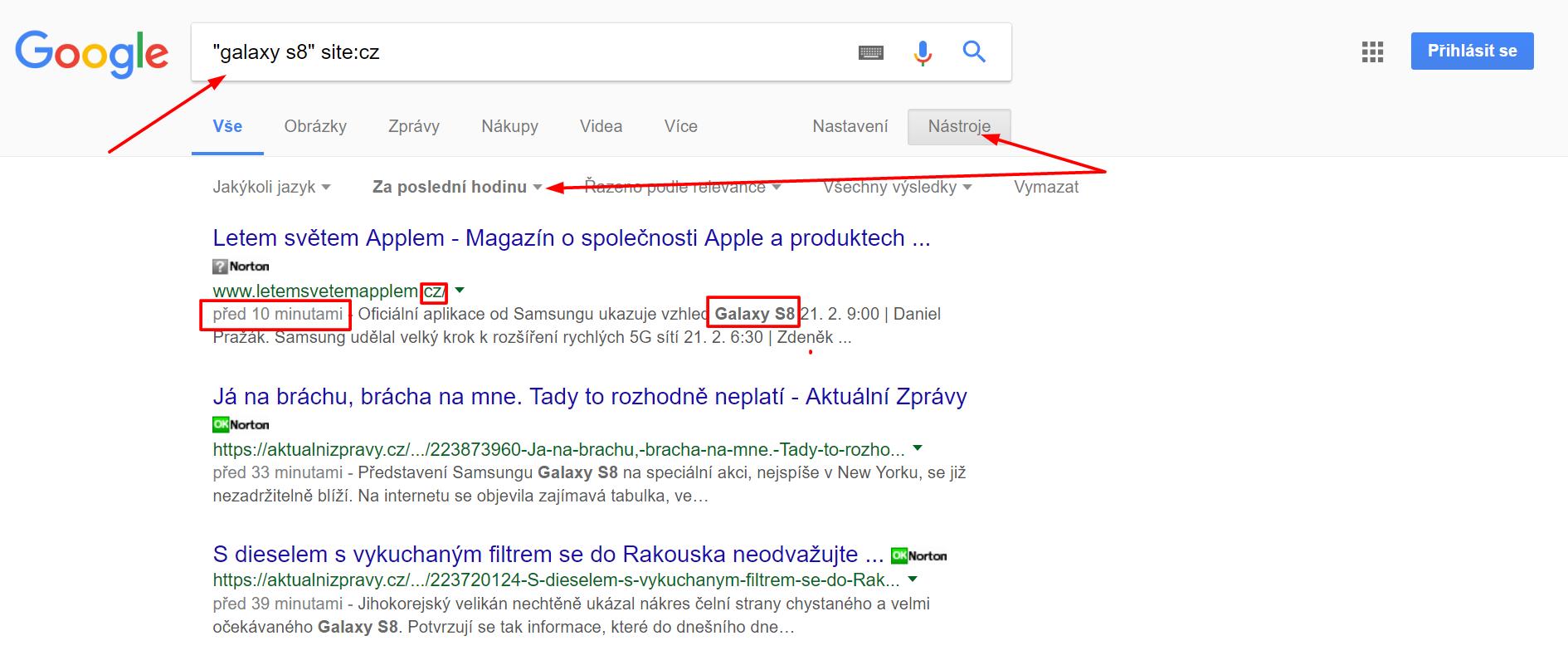 Pokročilé operátory Google