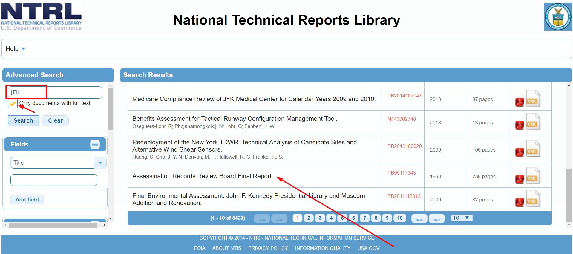 Výsledky a jejich zpřesnění v systému NLTR