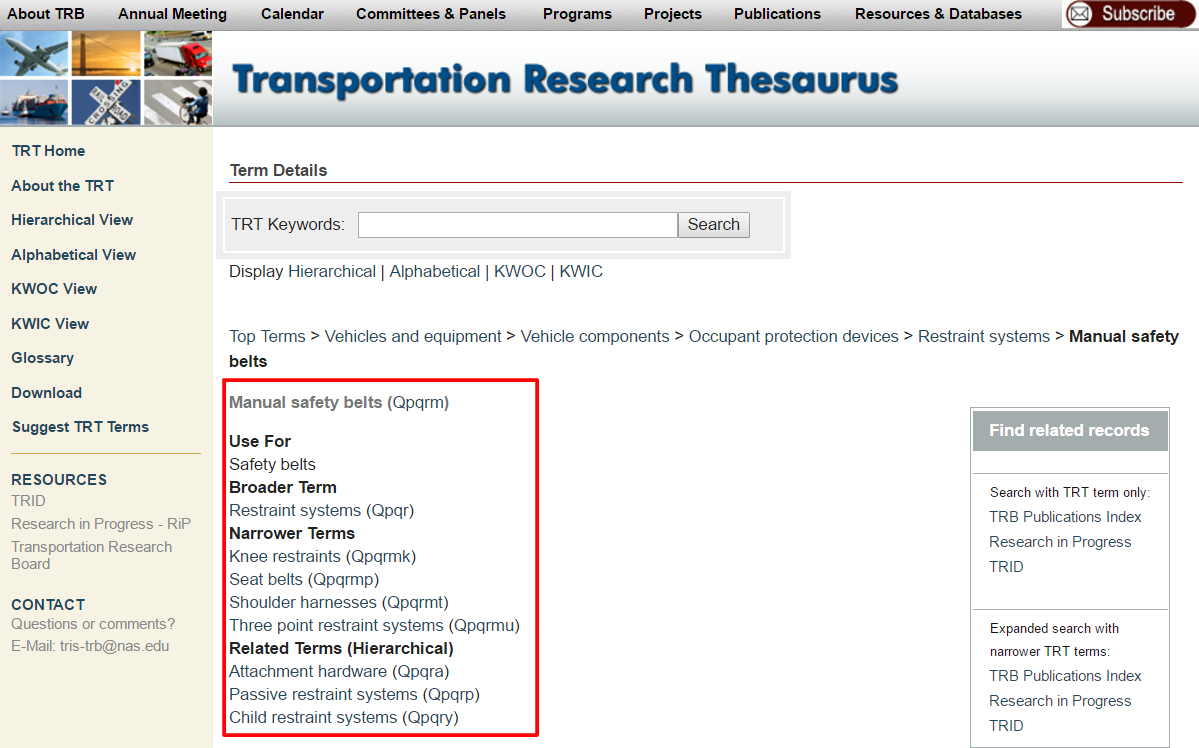 Tranportation Research Thesaurus