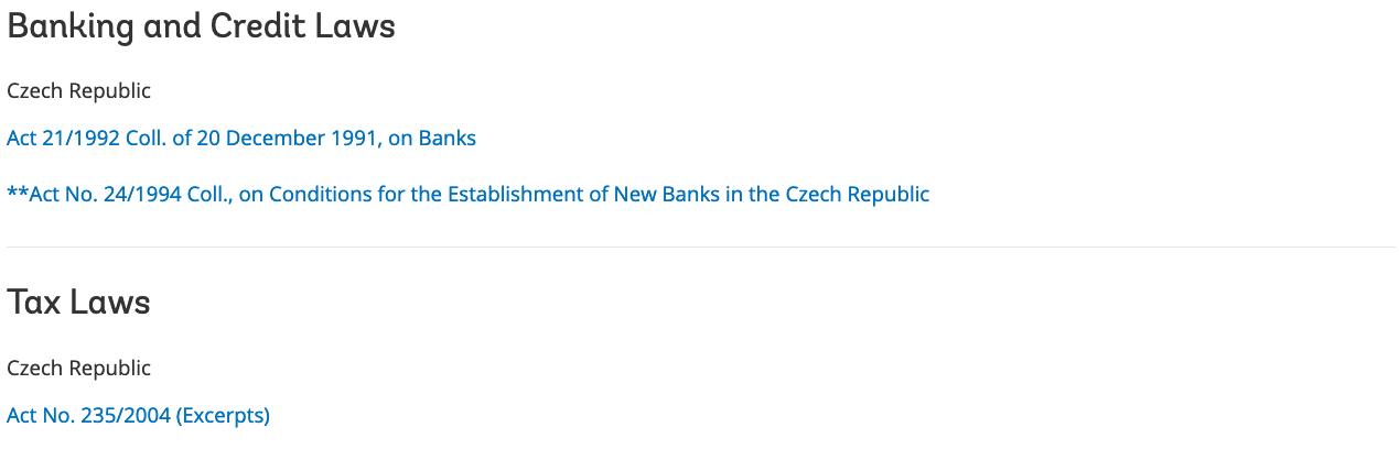Obrázek 10 Bankovní a daňové zákony pro ČR [10]
