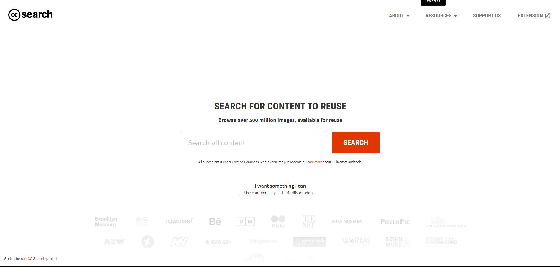 CCSearch Úvodní stránka