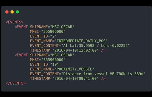 Obr. 2 ukázka XML odpovědi (MarineTraffic 2021b)