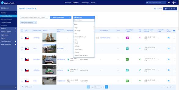 Obr. 4 ukázka uživatelského rozhraní pokročilého vyhledávání (MarineTraffic 2021h)