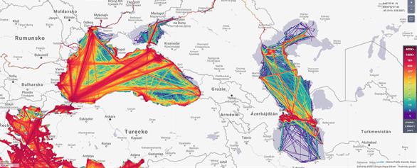Obr. 5 ukázka využití MarineTraffic pro vizualizaci hustoty provozu v Černém a Kaspickém moři